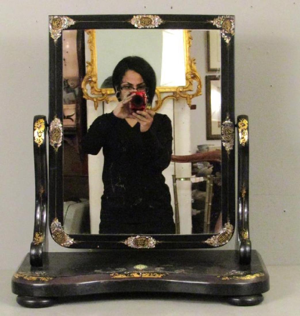 English Japanned Vanity Mirror - 2