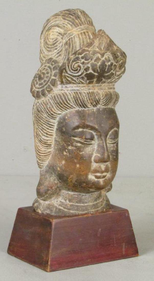 Carved Stone Buddha Head - 3
