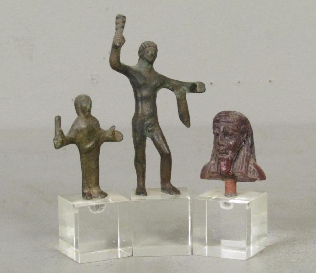 2 Bronze and one Wood Figure