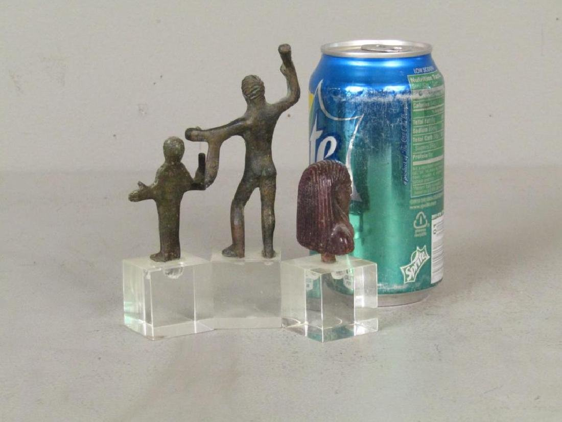 2 Bronze and one Wood Figure - 2