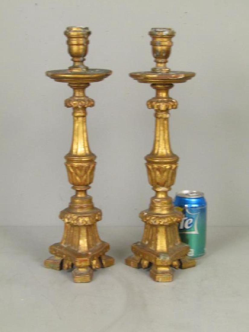 Pair Italian Gilt Wood Candlesticks - 2