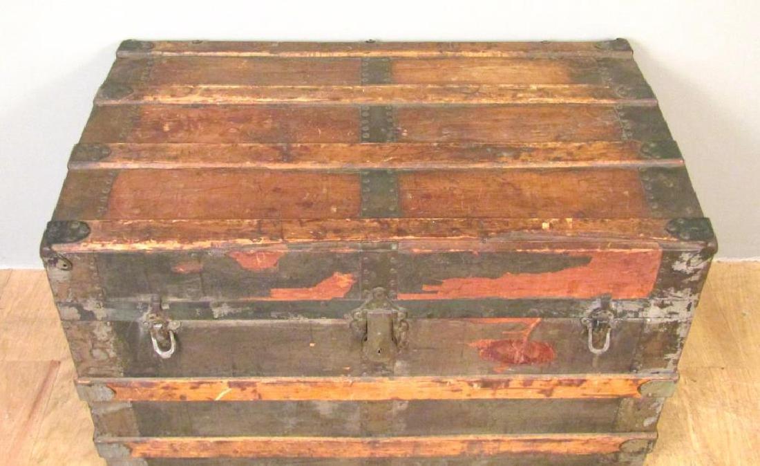 Vintage Wood and Metal Steamer Trunk - 4