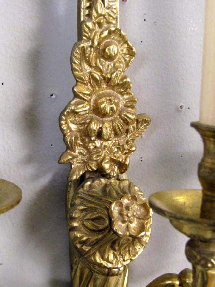 Pair French 3 Arm Sconces - 2