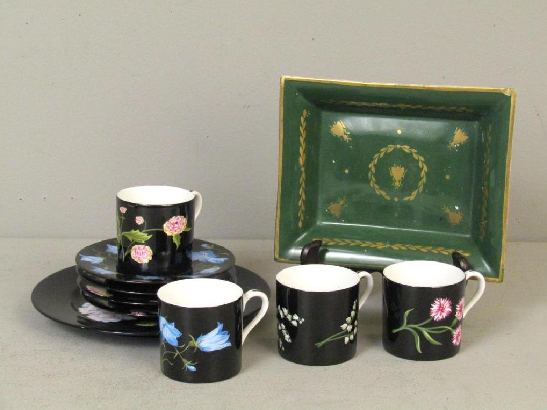 Tiffany Porcelain Teacups and Plates, Limoges Tray