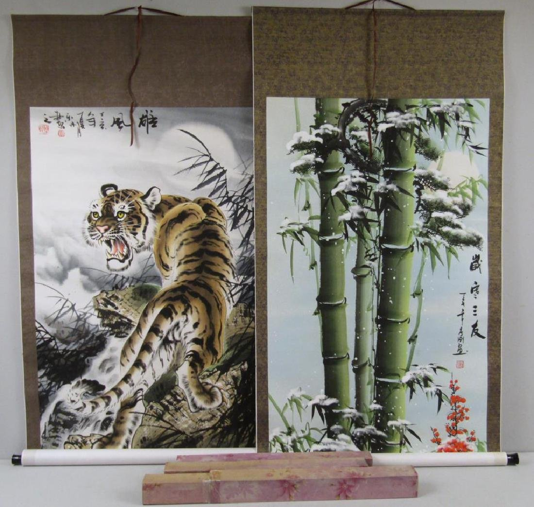 2 Chinese Painted Scrolls
