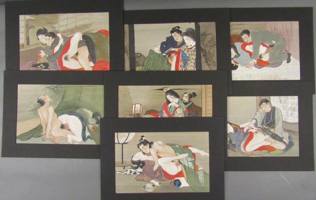 Set of 7 Japanese Shunga Prints
