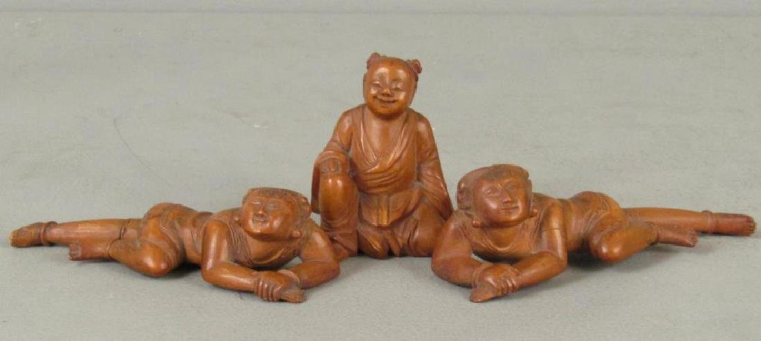 3 Chinese Carved Wood Figures