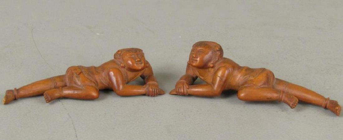 3 Chinese Carved Wood Figures - 3