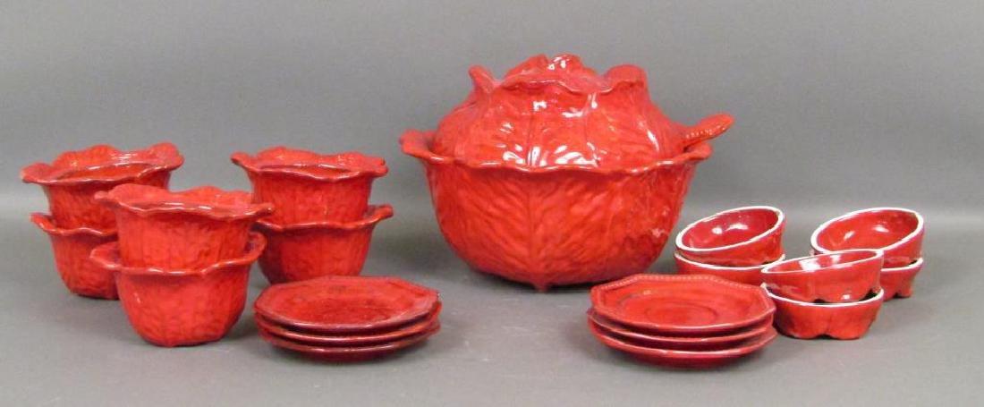 Italian Red Glazed Ceramic Serving Set