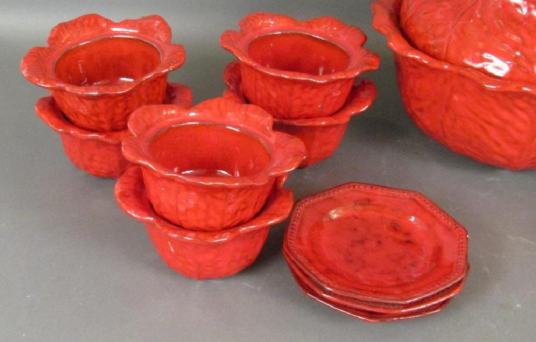 Italian Red Glazed Ceramic Serving Set - 3