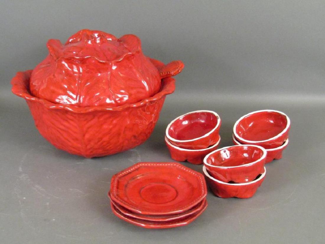 Italian Red Glazed Ceramic Serving Set - 4