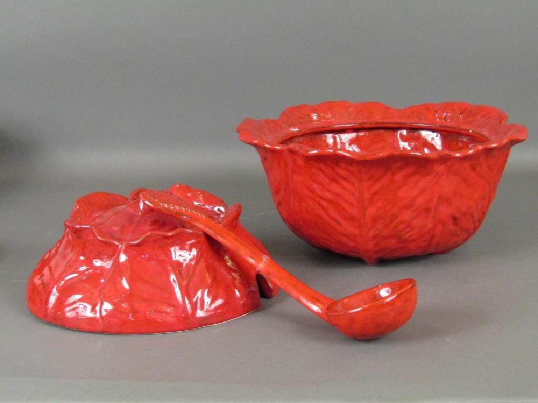 Italian Red Glazed Ceramic Serving Set - 5