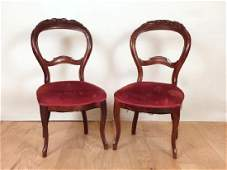 Pair Vintage Victorian Style Side Chairs