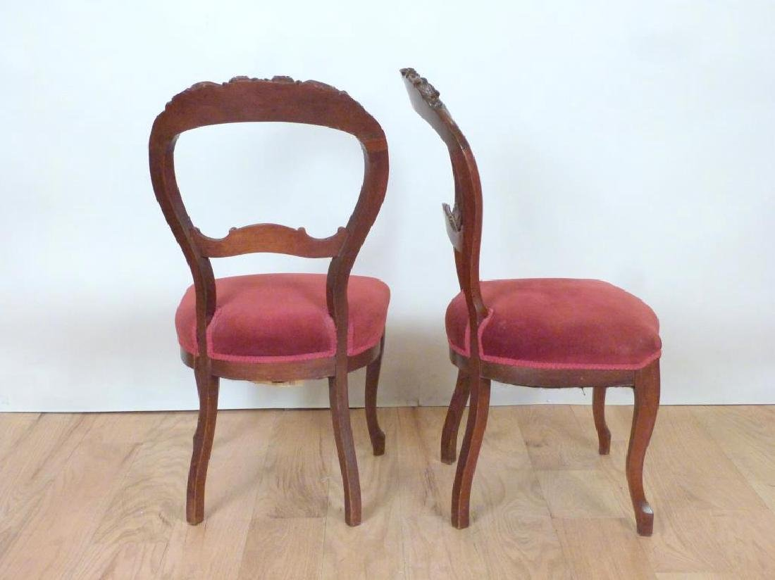 Pair Vintage Victorian Style Side Chairs - 4