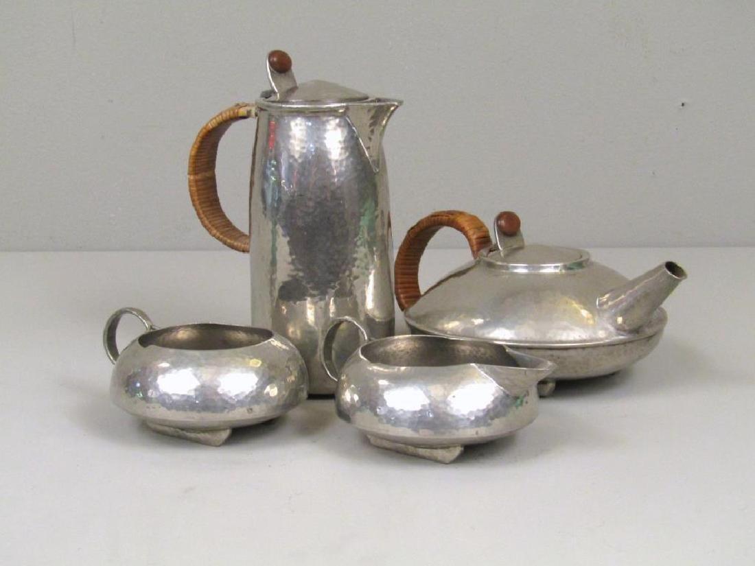 4 Piece Tudric Pewter Coffee and Tea Set