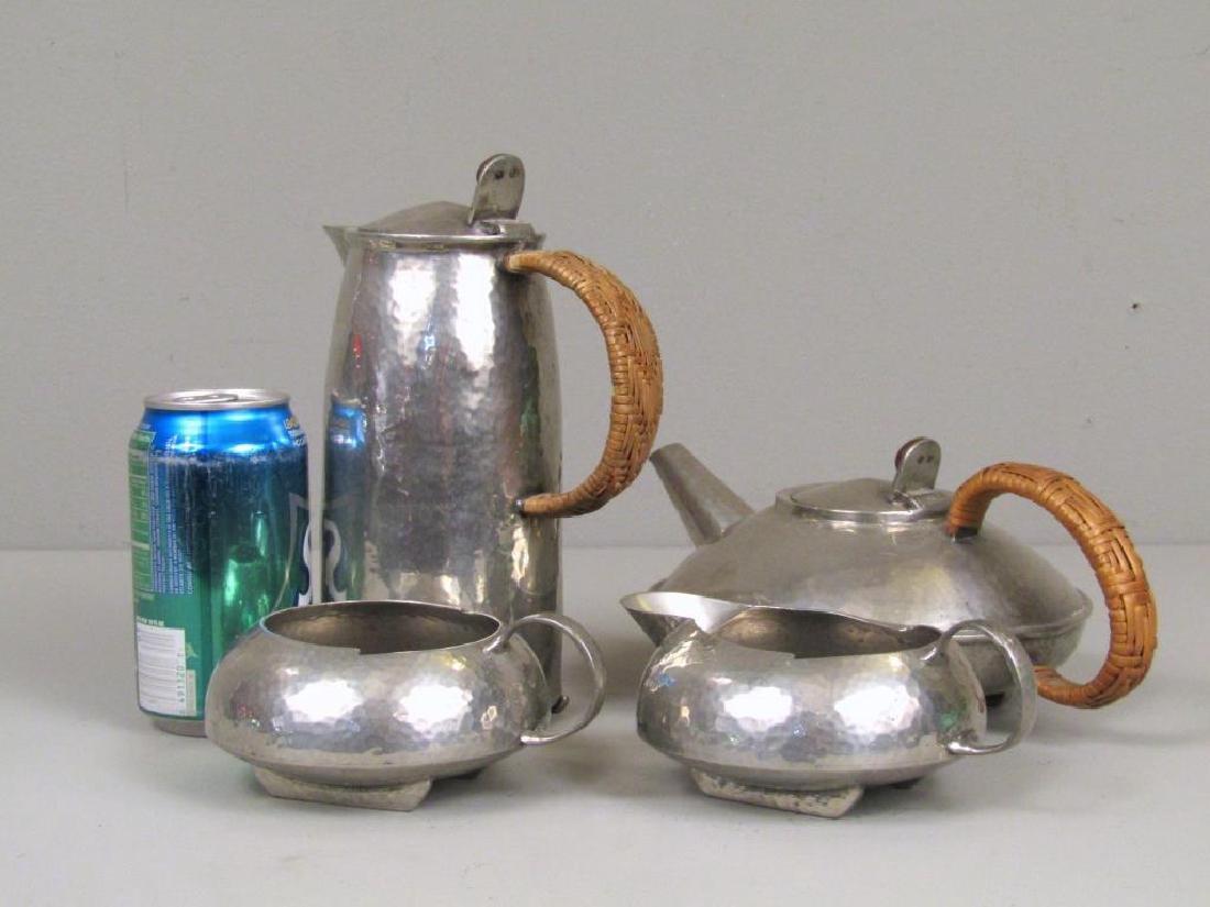4 Piece Tudric Pewter Coffee and Tea Set - 2