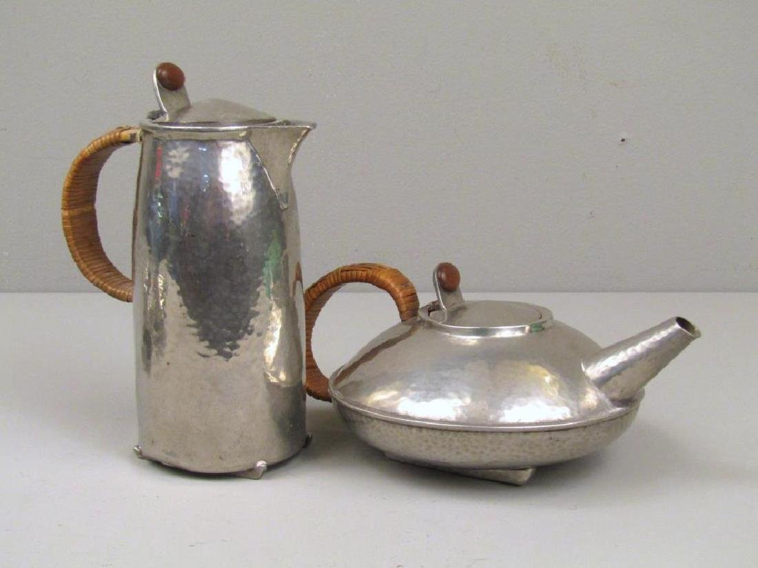 4 Piece Tudric Pewter Coffee and Tea Set - 6