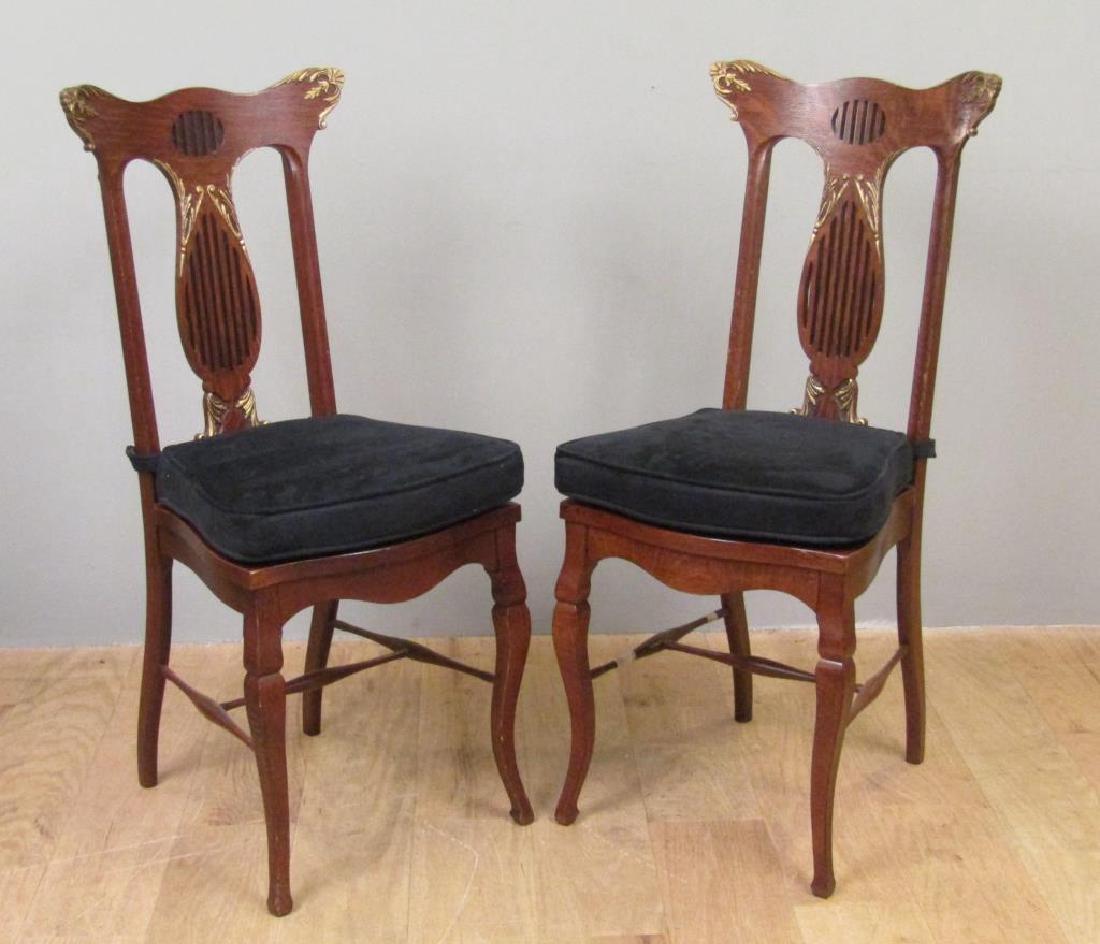 Pair American Oak Side Chairs