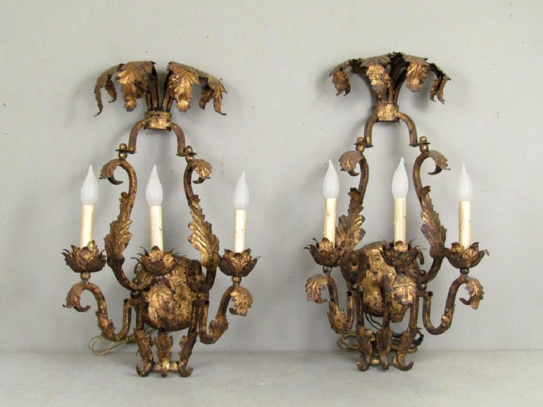 Pair French Style Gilt Tole 3 Light Sconces