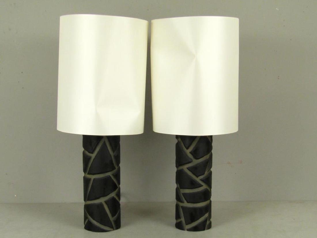 Pair Vivarini Murano Glass Column Lamps