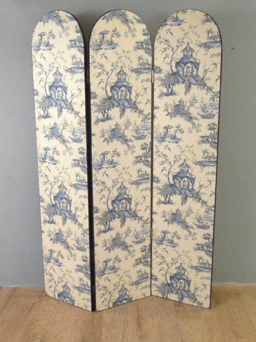 Chinoiserie Upholstered 3 Panel Floor Screen
