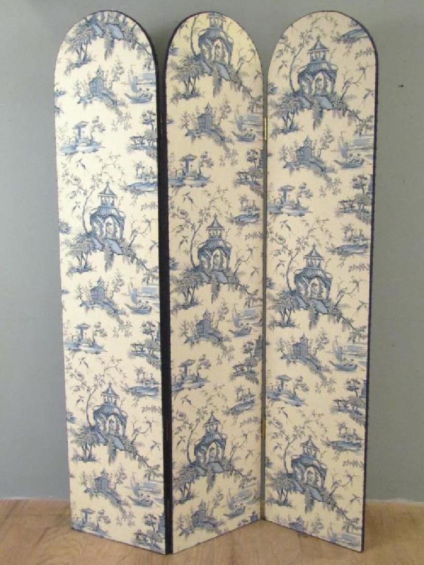 Chinoiserie Upholstered 3 Panel Floor Screen - 2