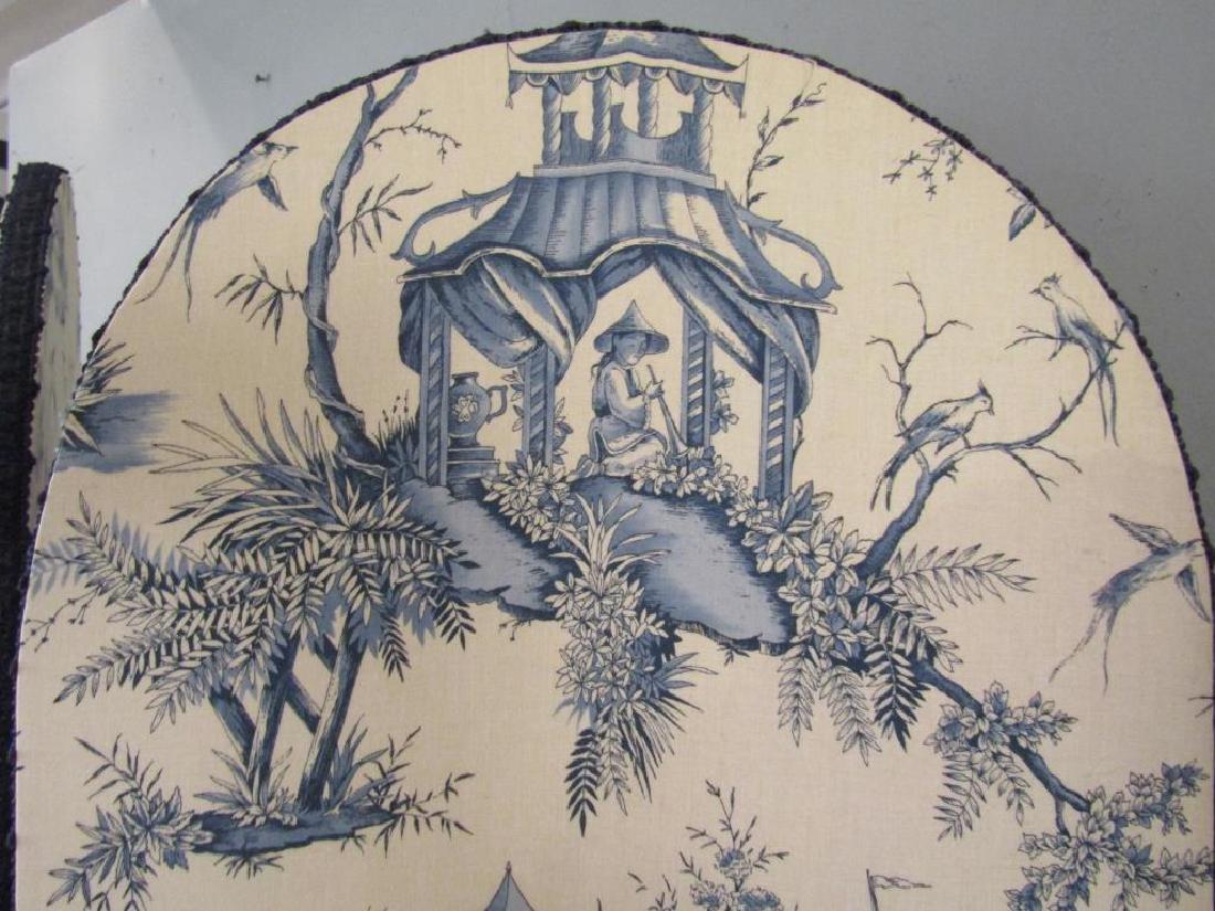 Chinoiserie Upholstered 3 Panel Floor Screen - 3