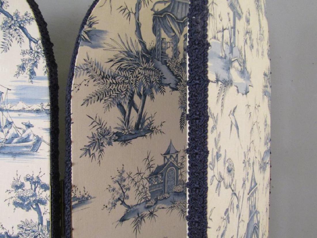 Chinoiserie Upholstered 3 Panel Floor Screen - 4