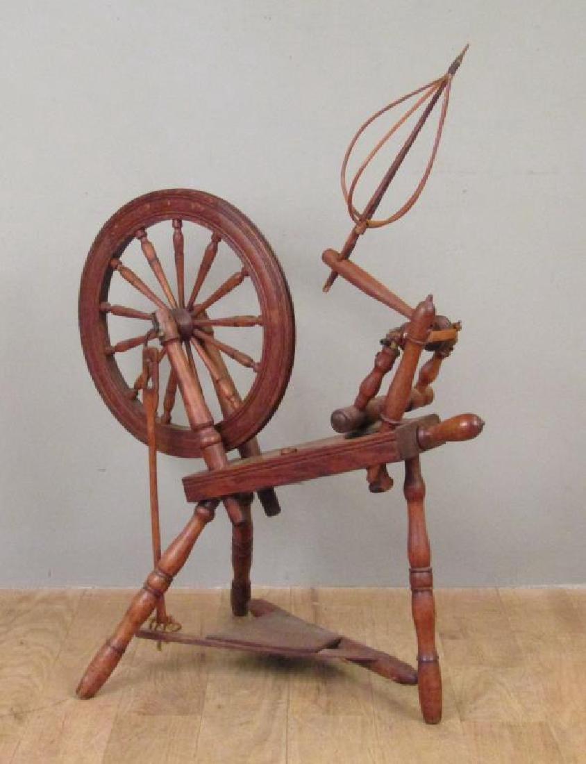 Antique American Spinning Wheel - 2