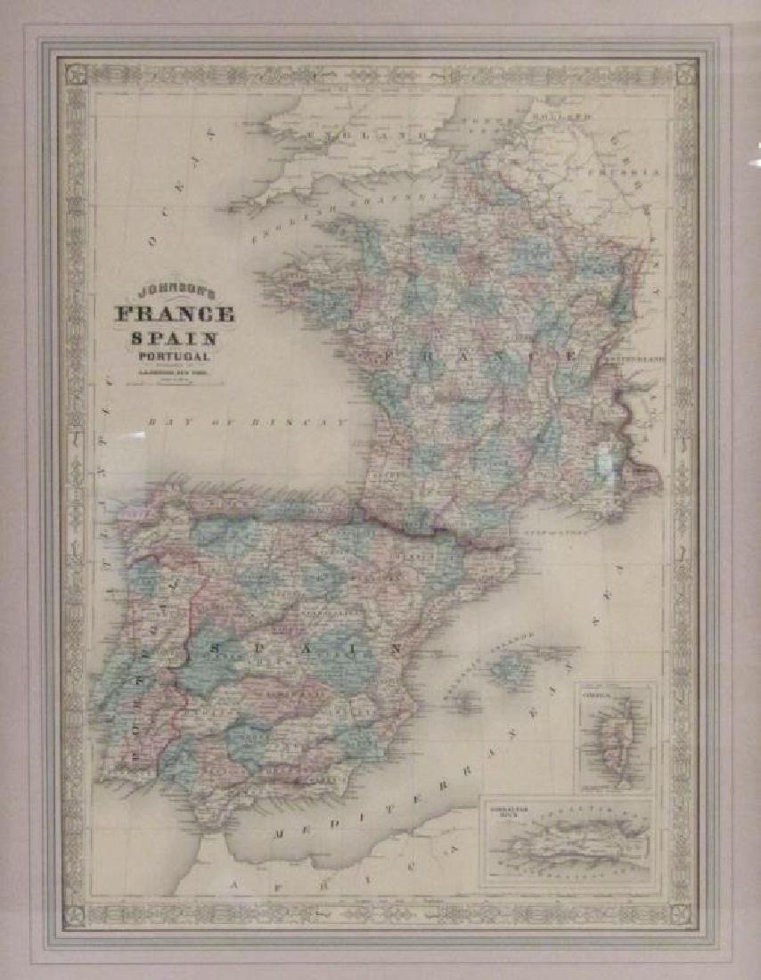 A.J. Johnson Map of France, Spain, and Portugal