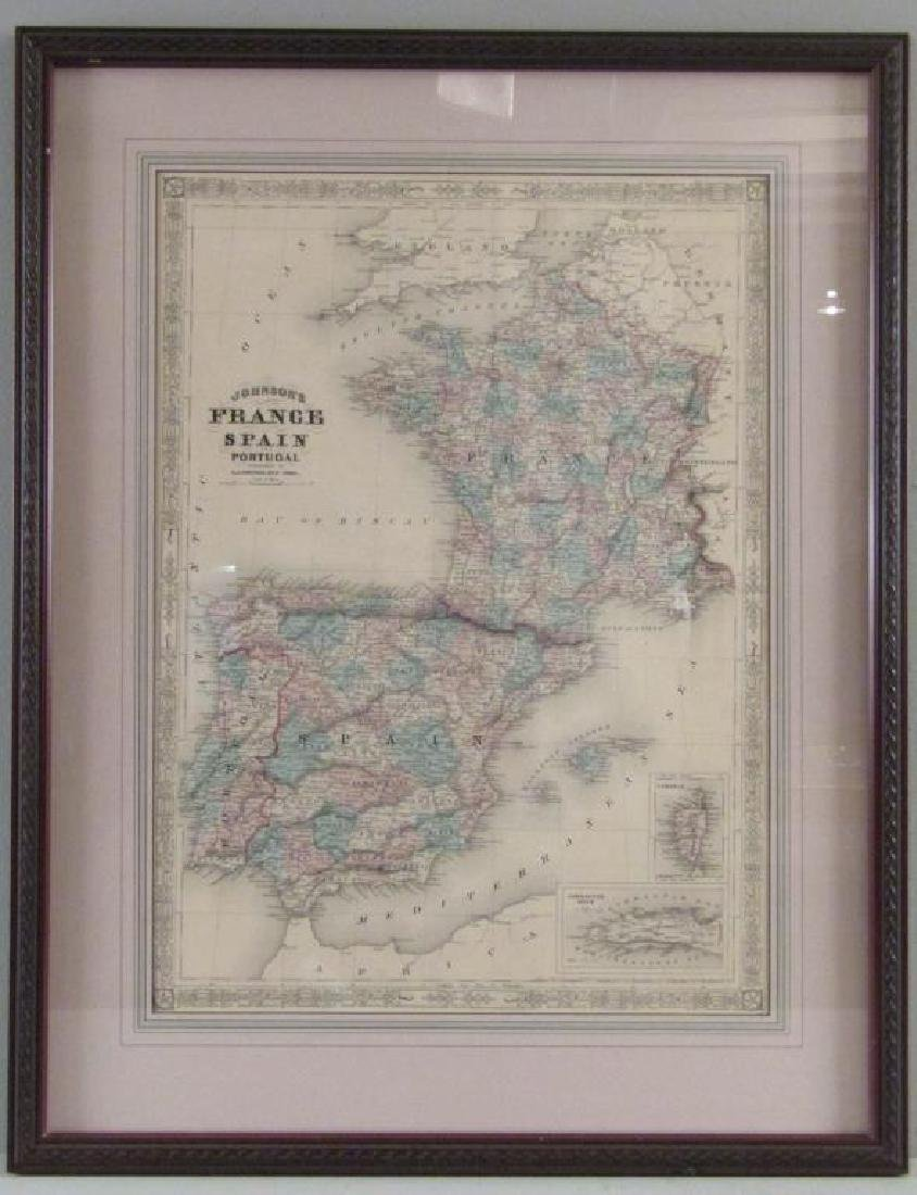 A.J. Johnson Map of France, Spain, and Portugal - 2