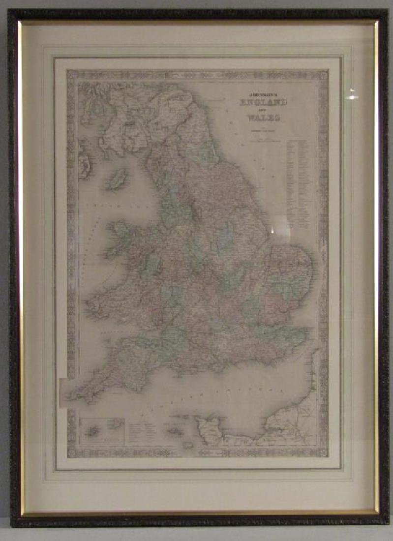Johnson and Ward Colored Map England & Wales