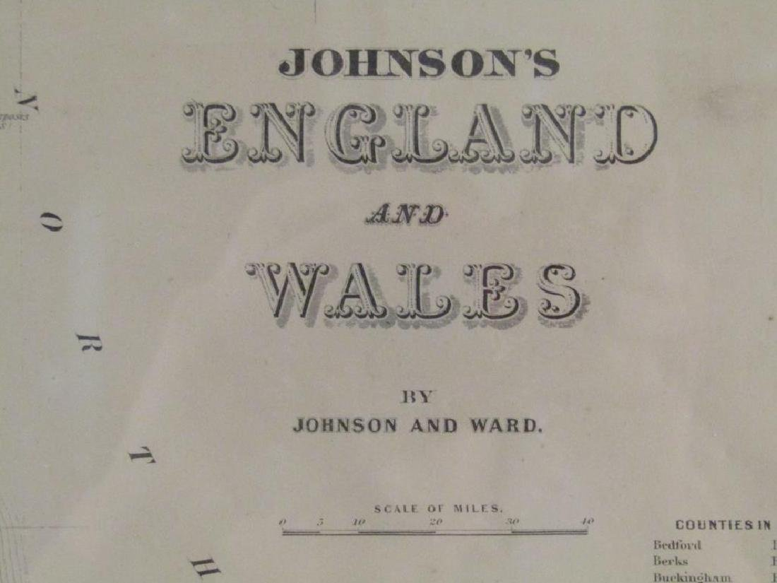 Johnson and Ward Colored Map England & Wales - 2