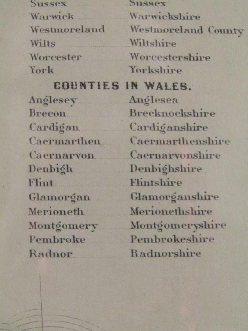 Johnson and Ward Colored Map England & Wales - 8
