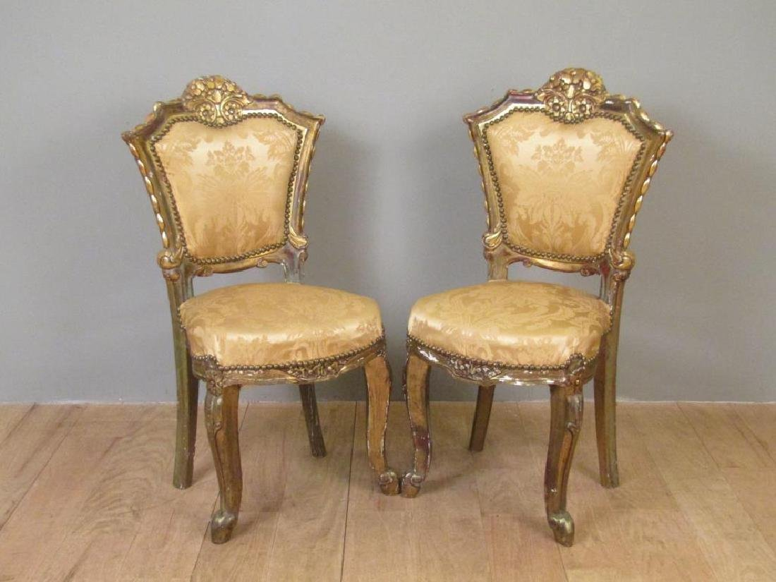 Pair Carved and Gilt Wood Side Chairs