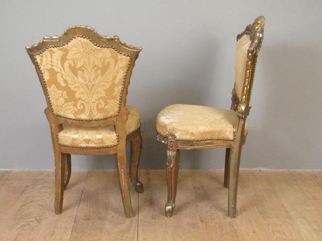 Pair Carved and Gilt Wood Side Chairs - 2
