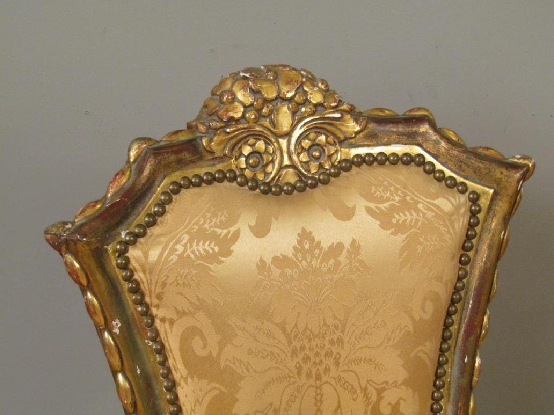 Pair Carved and Gilt Wood Side Chairs - 3