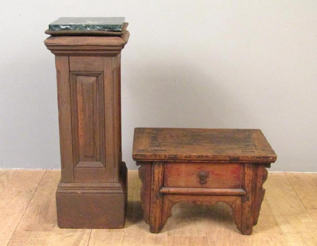 Marble Top Pedestal And Low Stand