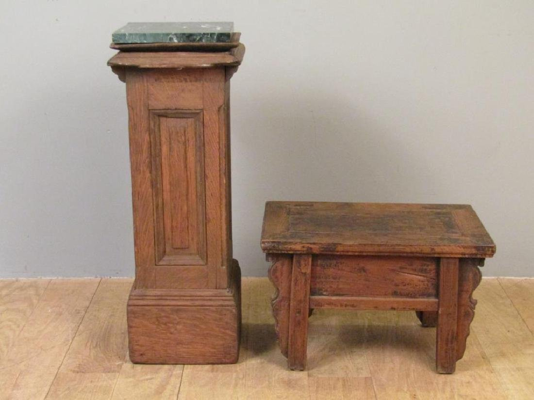 Marble Top Pedestal And Low Stand - 2