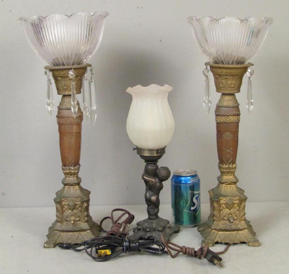 Pair and Single Table Top Lamps - 2