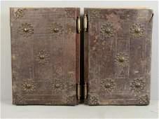 Pair Antique Leather Panels