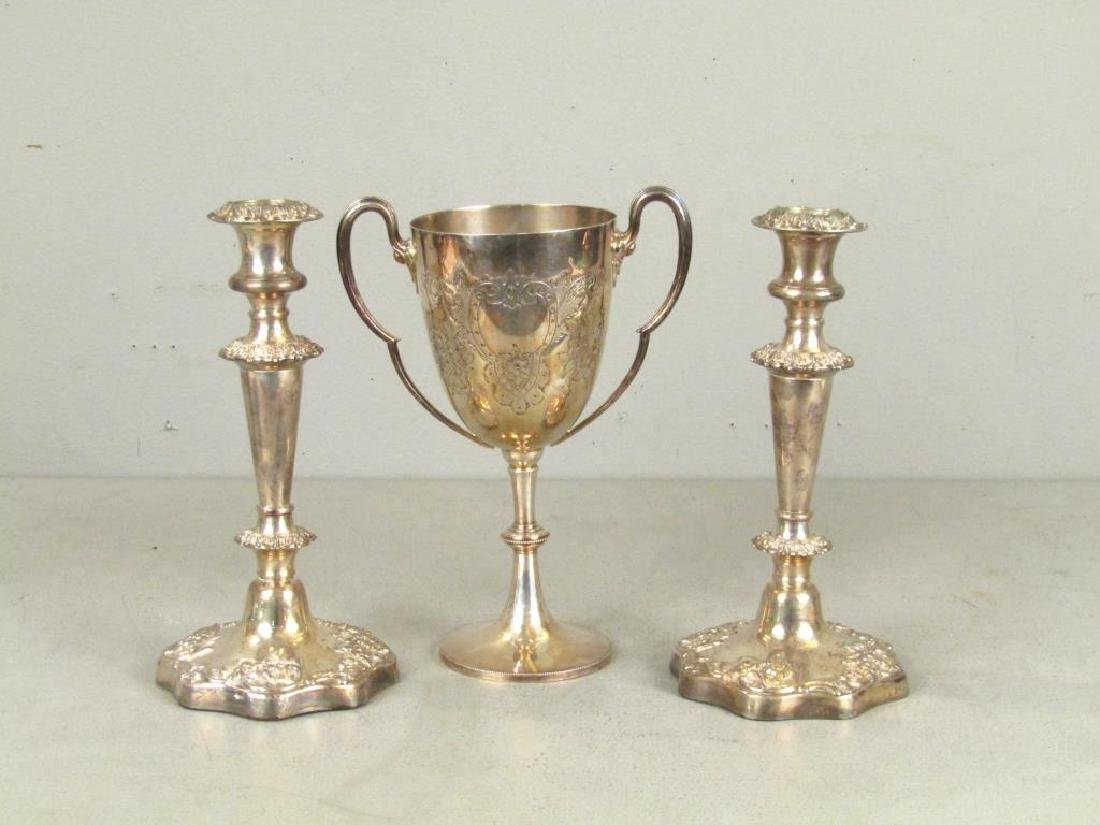 Pair Silver Plated Candlesticks and Trophy