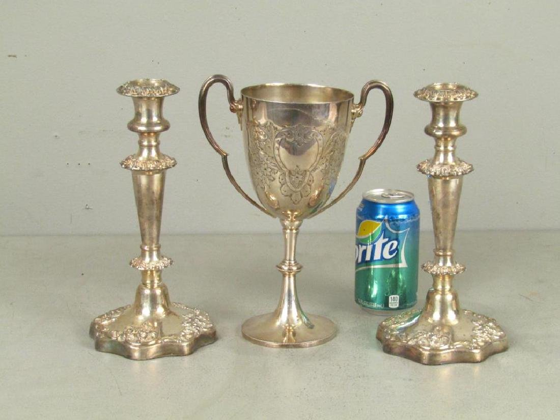 Pair Silver Plated Candlesticks and Trophy - 2