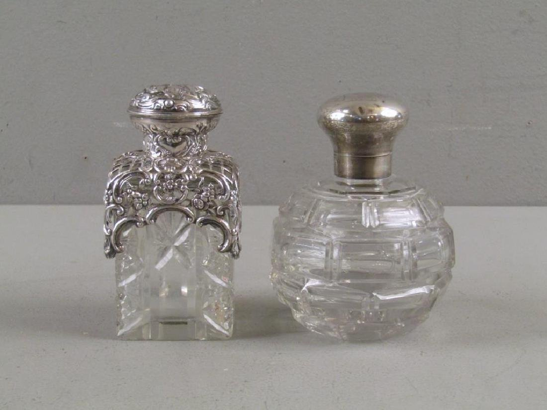 2 Victorian Silver and Cut Glass Perfumes
