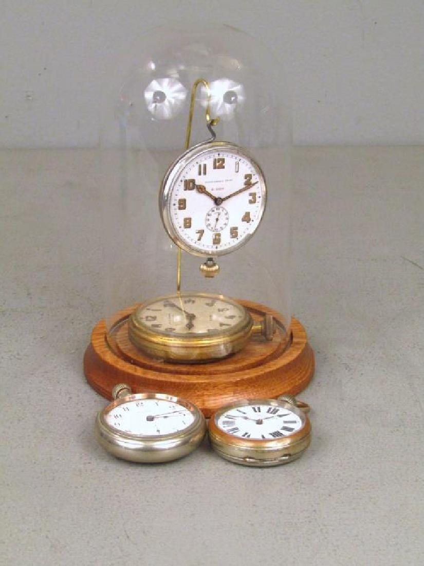4 Pocket Watches and Glass Display