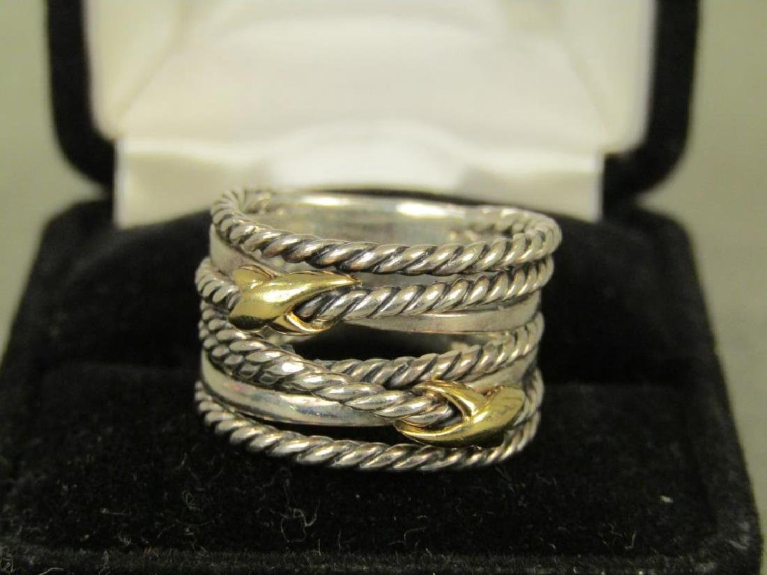 David Yurman Sterling and 18K Gold Ring