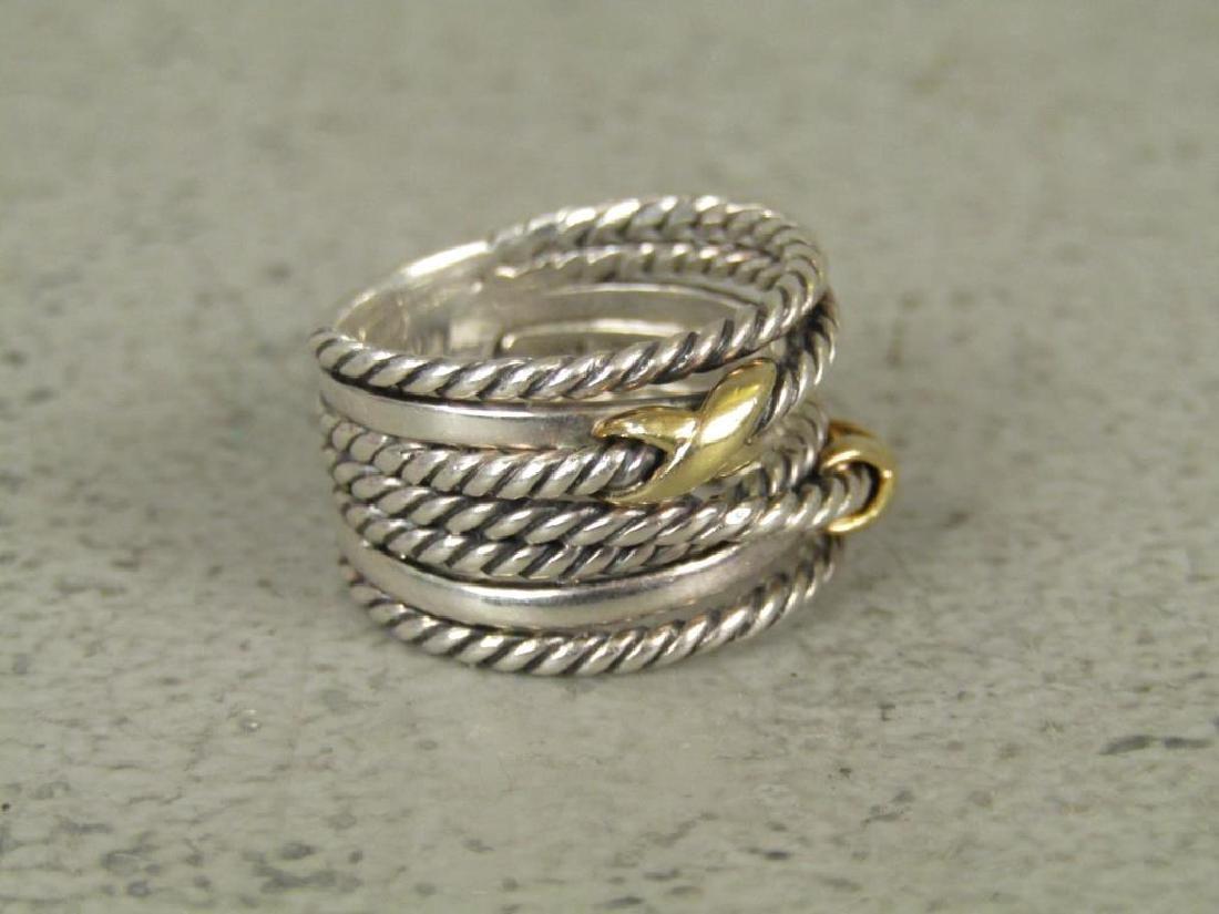 David Yurman Sterling and 18K Gold Ring - 2