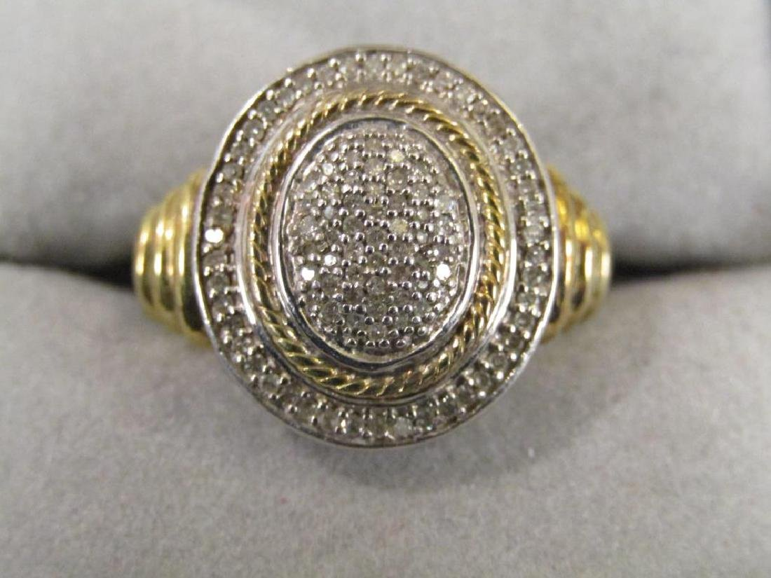Sterling Silver and Pave Diamond Ring
