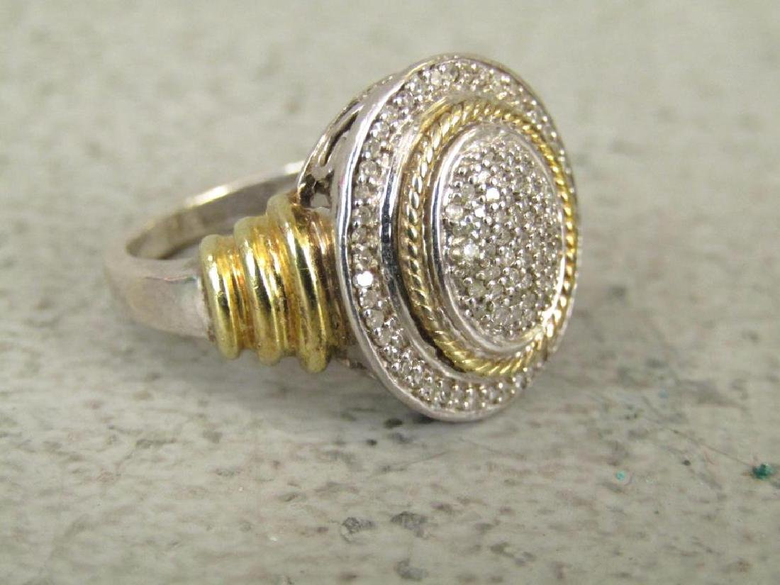 Sterling Silver and Pave Diamond Ring - 3