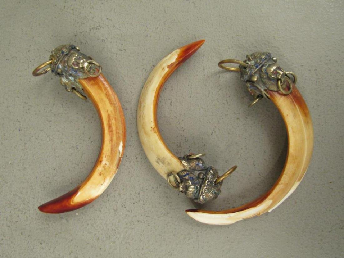 3 Metal and Horn Ornaments
